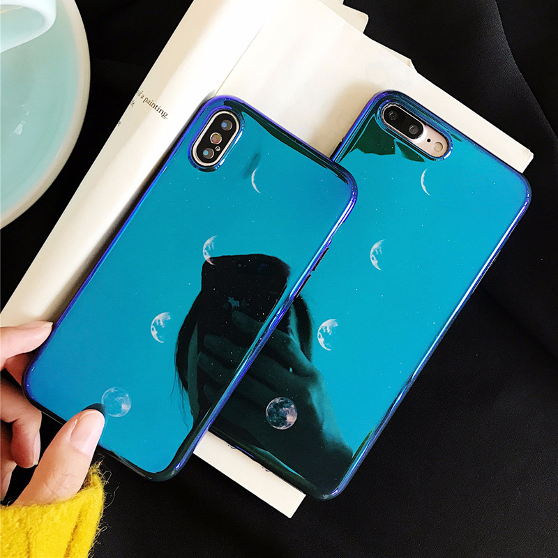JAMULAR For iPhone 6 6S 7 8 Plus X Case Blue Ray Light Planet Moon Soft Silicone Phone Cases for iPhone 7 8 Plus Cover Shells