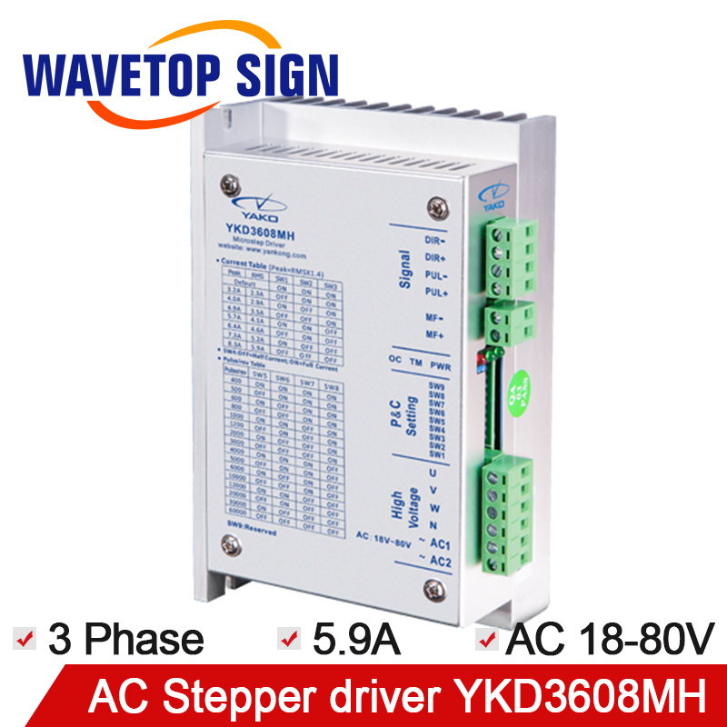 YAKO Stepper Motor Driver YKD3608M 3Phase Stepper driver YKD3608MH Input Voltage AC18-80V 5.9A 350HZ Match Motor 57~86mm цена