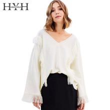 лучшая цена HYH HAOYIHUI 2018 Autumn V-Neck Solid Beige Sweaters Women Flare Sleeve Tassel Casual Pullovers Female Loose Elegant Tops Lady