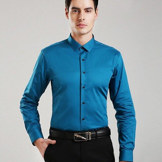De mariage Parti Solide Couleur Plus La Taille Robe Chemise pour Hommes Slim FitManches Longues Camisa Masculina CD50