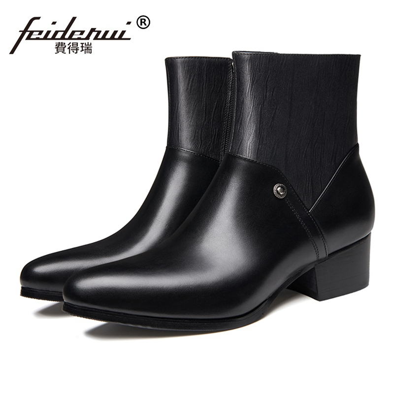 New Designer High-Top Man Formal Dress  Shoes Genuine Leather Pointed Toe High Heels Mens Cowboy Riding Ankle Boots SS436New Designer High-Top Man Formal Dress  Shoes Genuine Leather Pointed Toe High Heels Mens Cowboy Riding Ankle Boots SS436