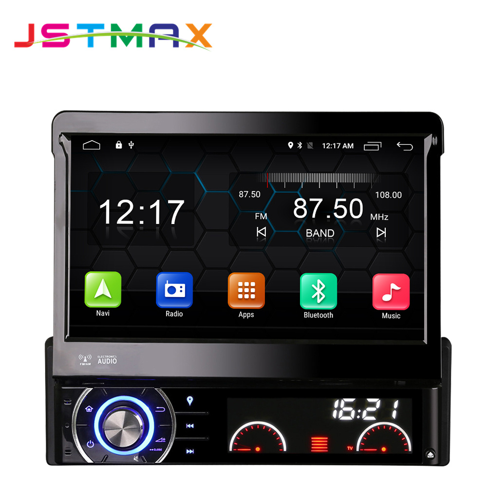 JSTMAX 7″ Quad Core 2G RAM 1 Din Android 6.0 Car DVD Player Radio Stereo Universal with GPS Navi Bluetooth Multimedia System 4G