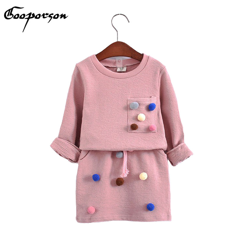 girls winter clothing set long sleeve shirt with ball with pencil skirt pink and blue color fashion clothes set kids children children clothing kids girls boys long sleeve little feet shirt pant set clothing winter fashion free shipping moda infantil
