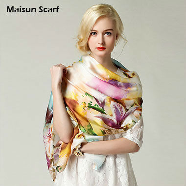 100 silk 10mm Fashion 180X70cm long georgette satin scarf