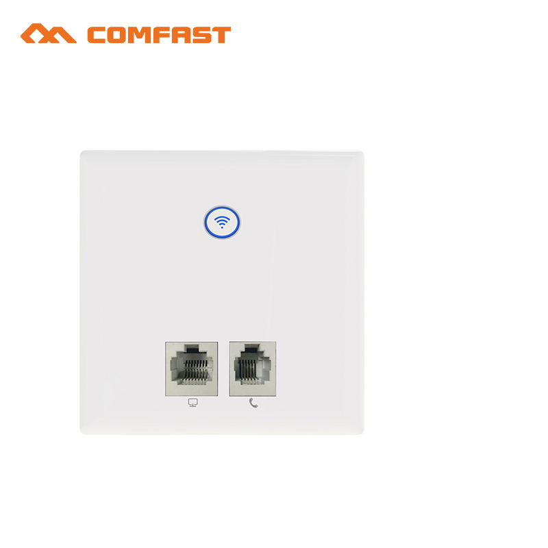 2017 COMFAST 300Mbps In wall Wireless AP Router 86 panel wifi router support 48V POE power adapter AP Mini switch for Hotel room