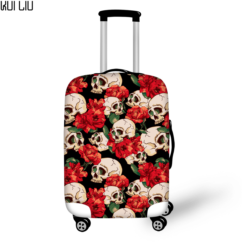 Customized Image Vintage Punk Skull Printed Suitcase Cover Protector Anti-Dust 3D Floral Red Rose Travel Luggage Elastic Cover
