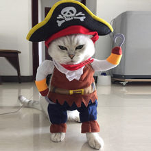 Dog Rompers Halloween Pirate Cool Cute Dog Pet Cosplay Costume Clothing Korean Style Dog costumes Warm Winter 2017 Fashion(China)