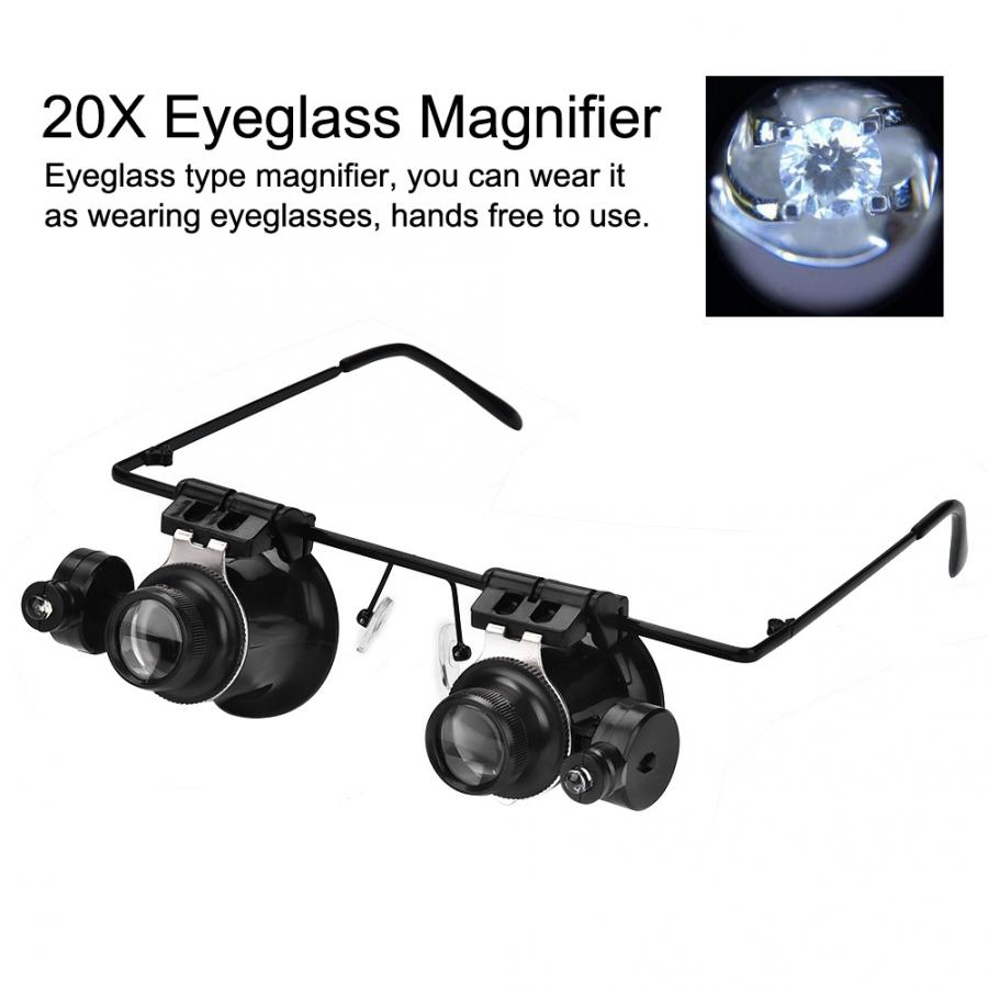 20X Headband Glasses Magnifier With 2 LED Lights Optical Lens Glass Loupe Watch Repair & Jewelry Repairing Tool for Watchmaker