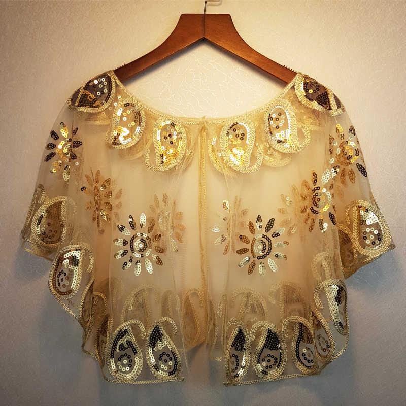 64b490ecd1 1 Piece Ladies Shawl Wraps Sequin Pashmina Evening Dress Women Beach Cover-up  Sunscreen Small