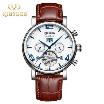 KINYUED 2019 New Mechanical Wristwatches Mens Tourbillon Skeleton Automatic Watches for Men Leather relojes hombre automaticos