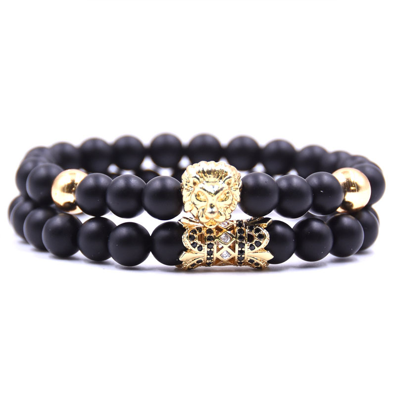 Kang hua 2019 Trendy 8mm Matte Black bead stone Bracelet Pave CZ 4 color Lion head Flower tube Handmade DIY Bracelet accessories in Strand Bracelets from Jewelry Accessories