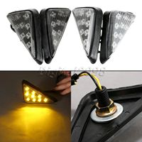 Motorcycle Amber Blinker Lights 12V 9 LED Motorcycle LED Flush Mount Turn Signals Motorbike Side Marker