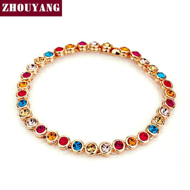 Multicolour CZ Crystal  Rose Gold Plated Chain Bracelet Jewelry Wedding Party Gift For Women Wholesale Top Quality ZYH026