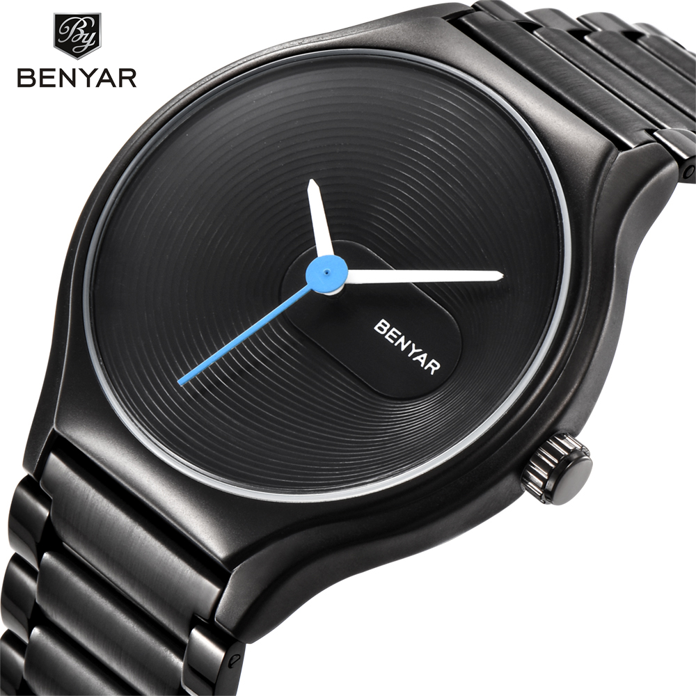 BENYAR Waterproof Full Steel Fashion Casual Men Watches Top Brand Luxury Business Male Quartz Watch Clock Support Dropshipping rosra brand men luxury dress gold dial full steel band business watches new fashion male casual wristwatch free shipping