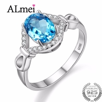 Almei Gemstones Blue Ring 925 Sterling Silver Rings For Women Jewelry Sapphire Ring Female With Stone