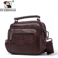 FUZHINIAO Fashion Business Soft Genuine Leather Men Messenger Bags Chest Trip Small Crossbody Shoulder Bag Male Handbag Mini