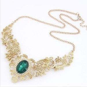 2014 New Arrival Fashion Hot Royal Noble Women Hollow Out Pattern Rhinestone Hollow Short Design Choker Necklace N244