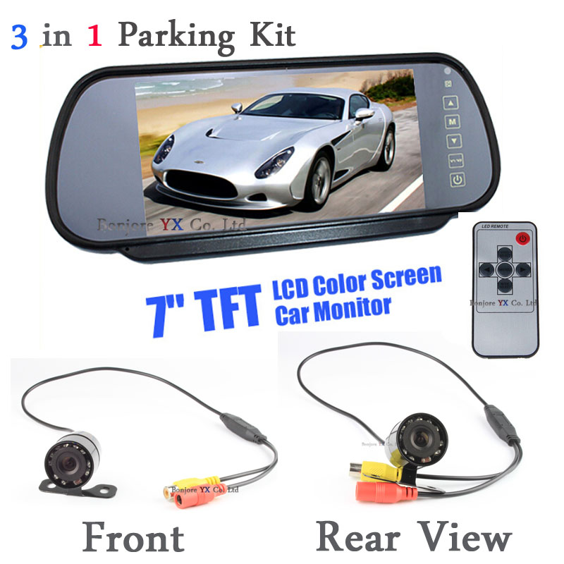 Parking High Resolution 7 Car Monitor With Mirror Screen For Rear View Camera form and front Camera Night Vision Infared camera newest high resolution 1024 600 full 7 tft lcd car rear view mirror monitor bluetooth mp5 usb tf slot parking assistance