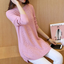 In the fall of 2017 long fashion sweater female Korean long sleeved Pullover Sweater Coat dress