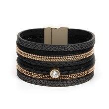 ORNAPEADIA Europe and United States Jewelry Retro Luxury Zircon Bohemia Bangles multi-layer Leather fine Bracelet for lady