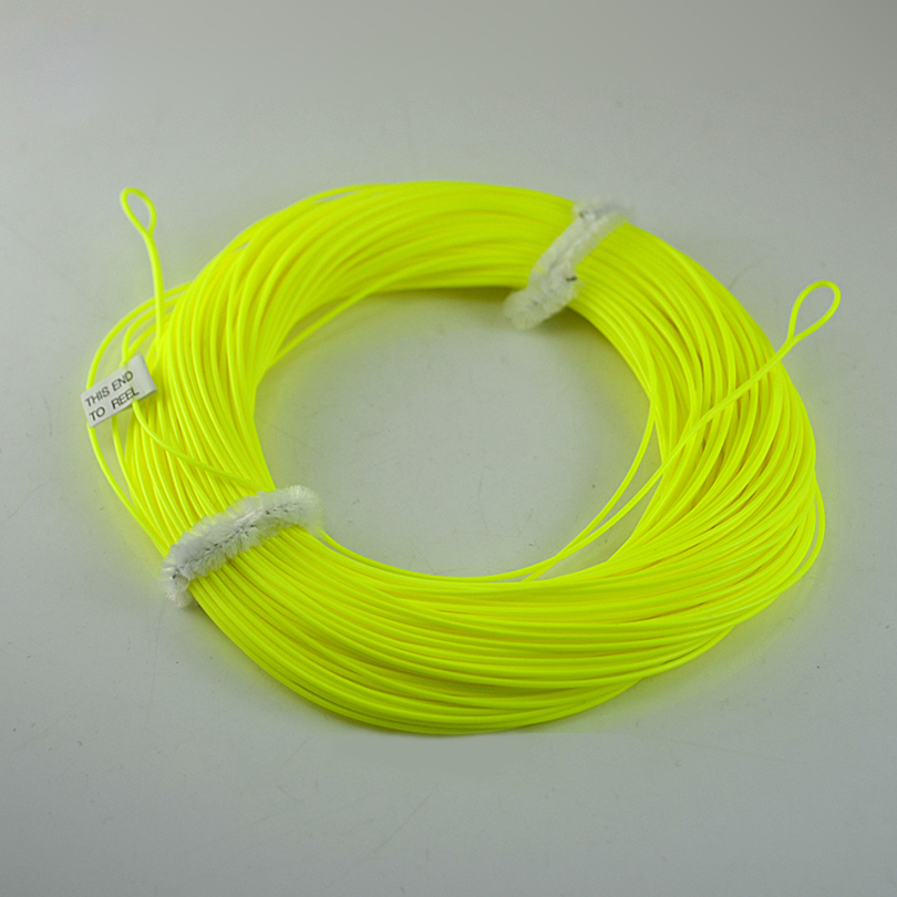 MNFT WF4F ~ WF8F Good Quality 100 feet Floating hollow wire Weight Forward Fly Fishing Line with Welded Loops End Yellow Color