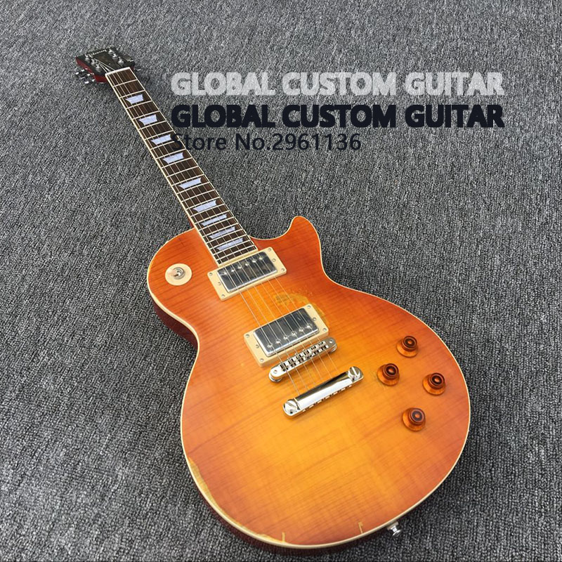 Relic Ace frehley Electric Guitar in Orange Sunburst, Heavy Relic Guitar with Humbucker*3 pickups, High quality, Real photo show corporate real estate management in tanzania