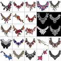 1PC Embroidered Floral Lace Neckline Neck Collar Trim Clothes Sewing Applique 17style Embroidery edge