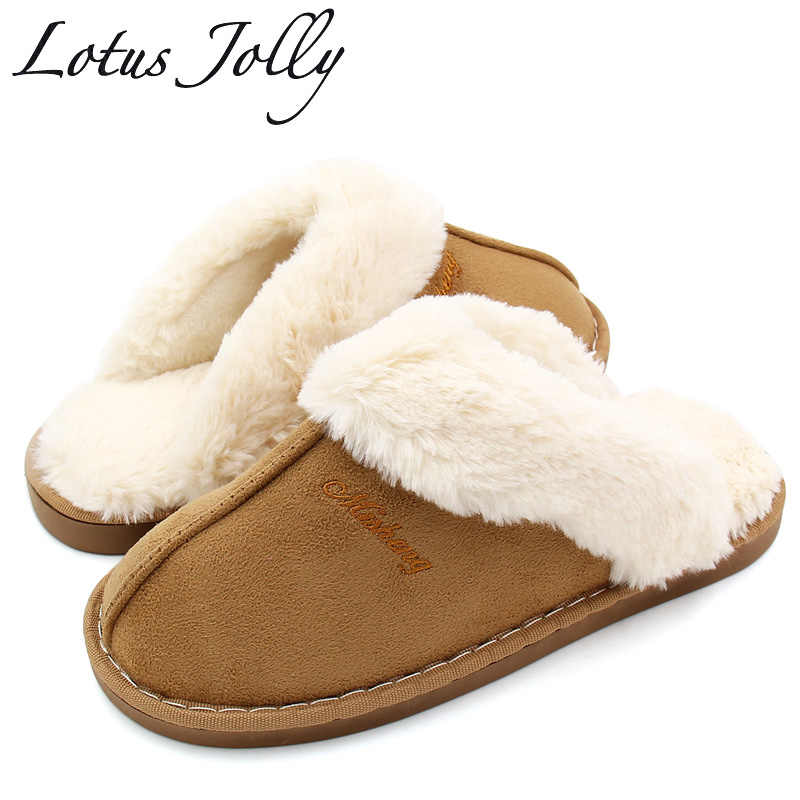 203786222584 Women Fur Slippers Winter Warm Shoes Women Suede Plush House Slippers  Indoor Outdoor Couples Cotton Memory
