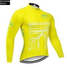 2019 สีเหลืองขี่จักรยานชายเสื้อแขนยาว Motocross Mountain Bike เสื้อผ้าปั่นจักรยาน DH MTB จักรยานกีฬา