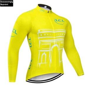 Image 1 - 2019 Yellow Jersey di Riciclaggio A Maniche Lunghe Da Uomo Motocross Mountain Bike Bicicletta Abbigliamento DH MTB Della Bici Abbigliamento Sportivo