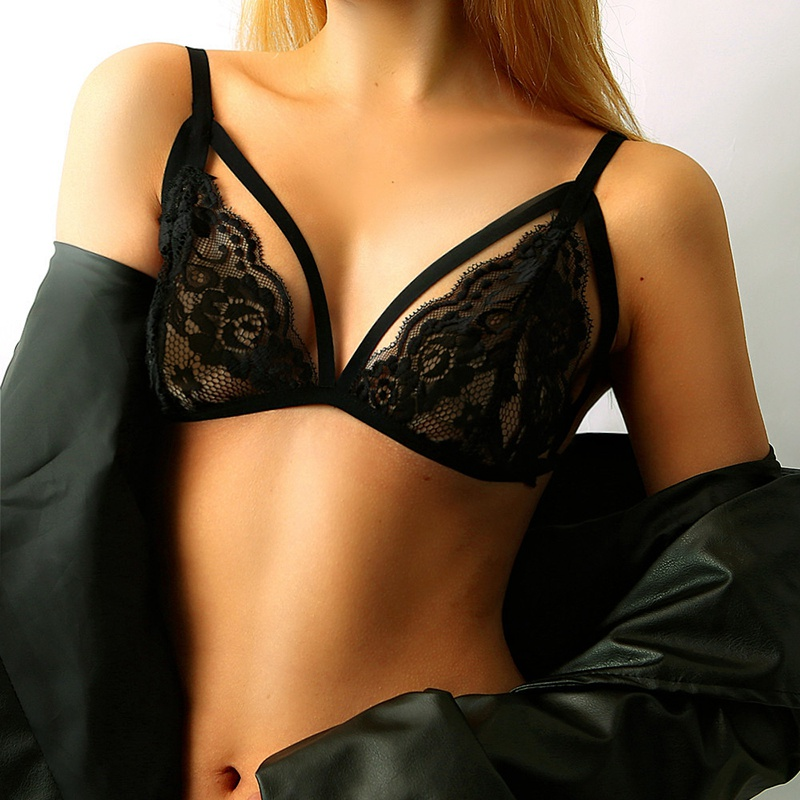 Fashion Sexy Women Solid Color Triangle Seksi Line Lace Openwork Ropa Sexy Transparent Open Cup Bra Women Bra