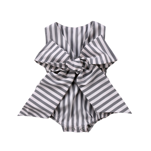 989830f49e9c1a Stripes Bowknot Baby Girl Romper Cute Newborn Baby Girls Bowknot Striped  Romper Sleeveless Jumpsuit Clothes Outfits Summer
