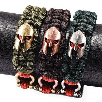 Handmade Spartan Helmet Paracord Bracelet for Women Men Friendship Charm Bracelets Bangles Survival Rope Bracelet Wristband Браслет