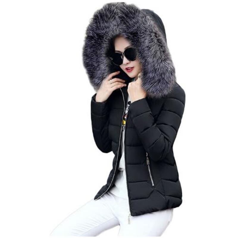 jackets woman winter coat 2018 big Fur collar   parkas   women winter jackets women Slim Hooded keep Warm short coat female autumn