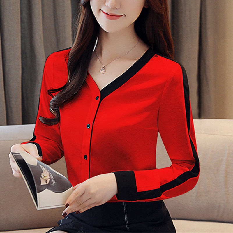 Womens Tops And Blouses Chiffon Blouse Shirt Fashion Woman Blouses Office Lady Tops Feminine Blouses Korean Fashion Clothing