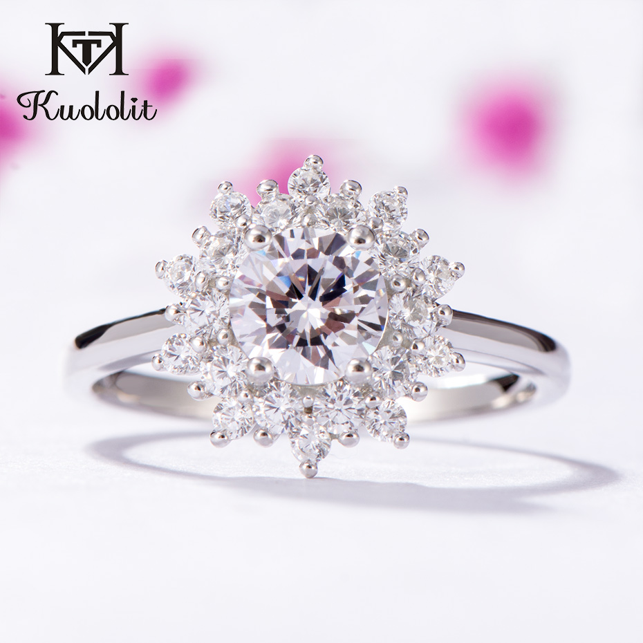 Kuololit Moissanite Rings for Women 925 Solid Sterling Silver Ring 0.8ct Moissanite Wedding  Engagement Band Fine Jewelry Gift