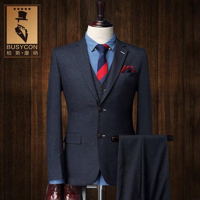 Online Shop Elegant Royal Blue Mens Suit Wedding Groom Slim Fit 3 ...