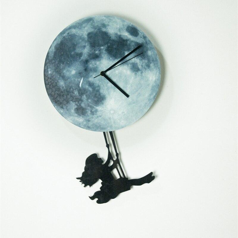 Funlife (TM) светятся в темноте Луна настенные часы, funlife Эксклюзивный новый лунный свет ночник-деко Стикеры девушка качели на Луне Wa