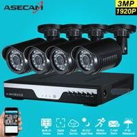 New 4ch 1920p Surveillance Kit CCTV DVR H 264 Video Recorder AHD Indoor Black Bullet 3mp
