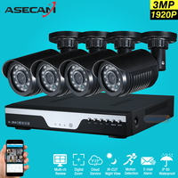 New 4ch 1920p Surveillance Kit CCTV DVR H 264 Video Recorder AHD Indoor Black Bullet 3mp