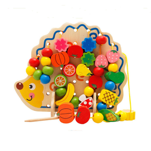 Free Shipping 1 Set Wooden Hedgehog Fruit Fancy Wooden Beaded Thread Toy