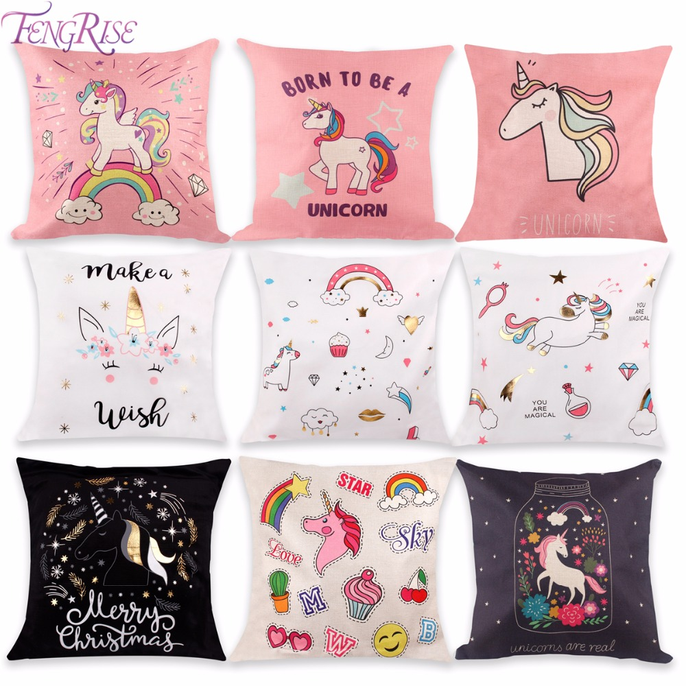 FENGRISE 1PC Unicorn Cushion Cover DIY Party Favors Cotton Linen Pillow Case Baby Shower Kids Birthday Gifts
