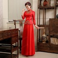 2015 fashion long sleeve Cheongsam red bride wedding cheongsam suit embroidery qipao chinese traditional dress free shipping