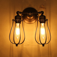 Loft Vintage Iron Wall Lighting 2 Adjustable Heads Wall Lamp For Coffee Shop Countryside Room With