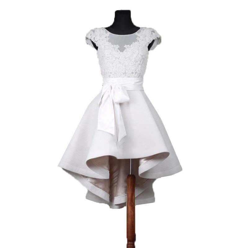 939b4cc13ec 2018 кепки рукавом халат De soireвечерние вечернее платье пышное Высокая  Низкая кружево Белый Пром эластичный ткань