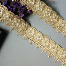 1 Yard Light Gold Pearl Tassel Flowers Pearl Lace Edge Trimmings Ribbons Beaded Lace Fabric Embroidered Sewing Wedding Dress DIY pearl beaded lettuce edge crop tee