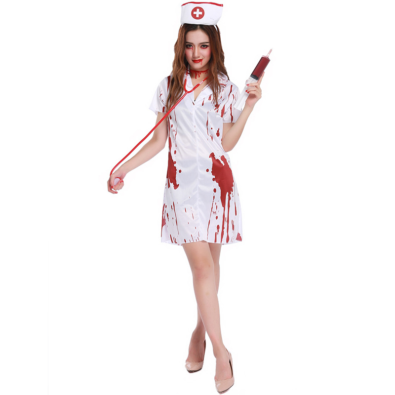 2017 New Halloween Nurse costumes staxis Sexy Terror Nurse cosplay costumes for Halloween party funny dress