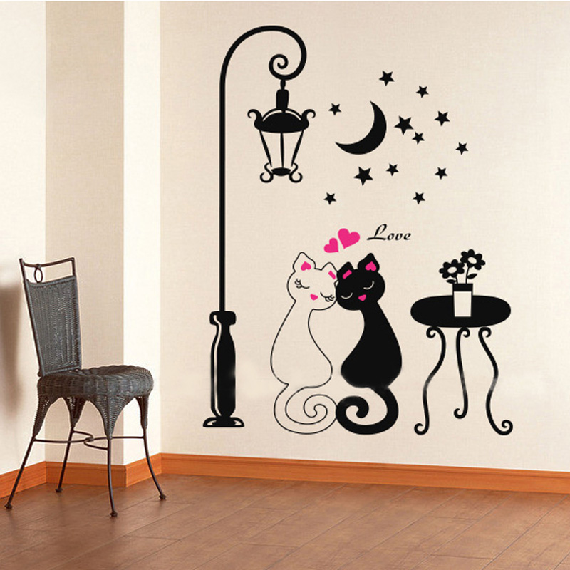 Buy 2016 Cut Black Couple Cat Wall
