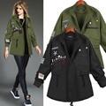 2016 5XL New Jacket Women Autumn Winter Loose Casual Coat Long Sleeve Epaulet Embroidery Women Short Coat Outerwear Army Green