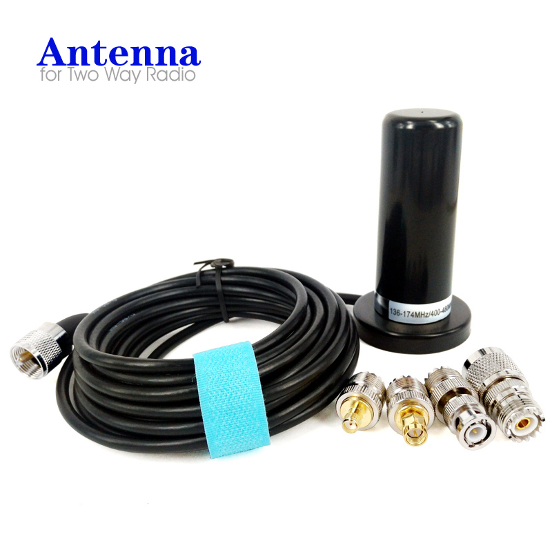 Dual Band VHF UHF Car Radio Antenna PL259 5M Coaxial Cable Magnetic Base SMA F SMA